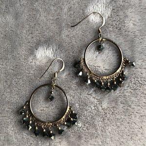 Jewelry - Silver and dark grey chandelier earrings